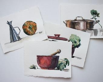 Set of watercolour cards. Original paintings.