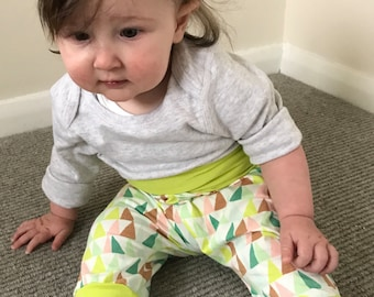 Neon yellow green and pink triangle print Baby Harem Pants/Leggings Jersey material all sizes