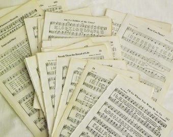 Vintage Christian Hymn Book Pages 50 pieces, Old Music Pages from 1971 hymn book, Songs of the Church, Aged Paper, Crafting paper