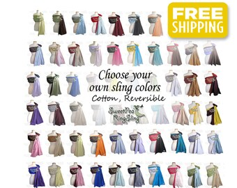 Custom SweetPea Ring Sling Any Two Colors Design Your Own Made in the USA Cotton Baby Infant Carrier Wrap Newborn Baby Shower Pocket