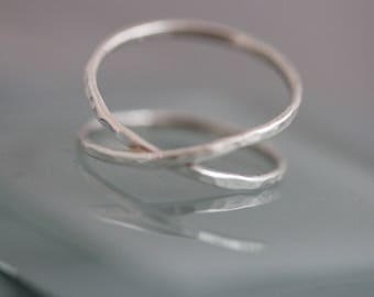 Silver Criss Cross Ring X Double Infinity Sterling Silver 1.3mm Thick Hammered Band Ring Smooth Shiny Finish Recycled Silver
