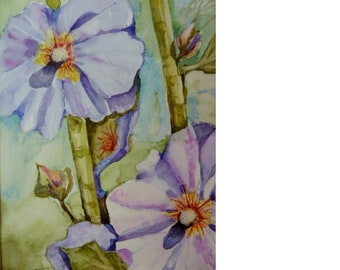 Hollyhocks, original watercolor, Mothers Day