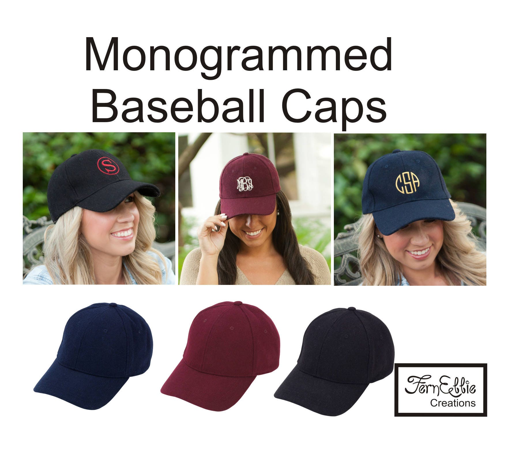 08061637 FREE SHIPPNG*** Monogrammed Wool Baseball Cap, Monogram Hat, Personalized  Baseball Cap, Bridesmaid Gift, Wedding.