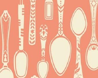 Kids American cotton fabric - Blend Fabrics designer Ana Davis - pink spoons - covered by 50cm (110 x)