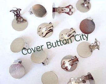 12 (6 pairs) Clip On Earrings 15 mm Pad