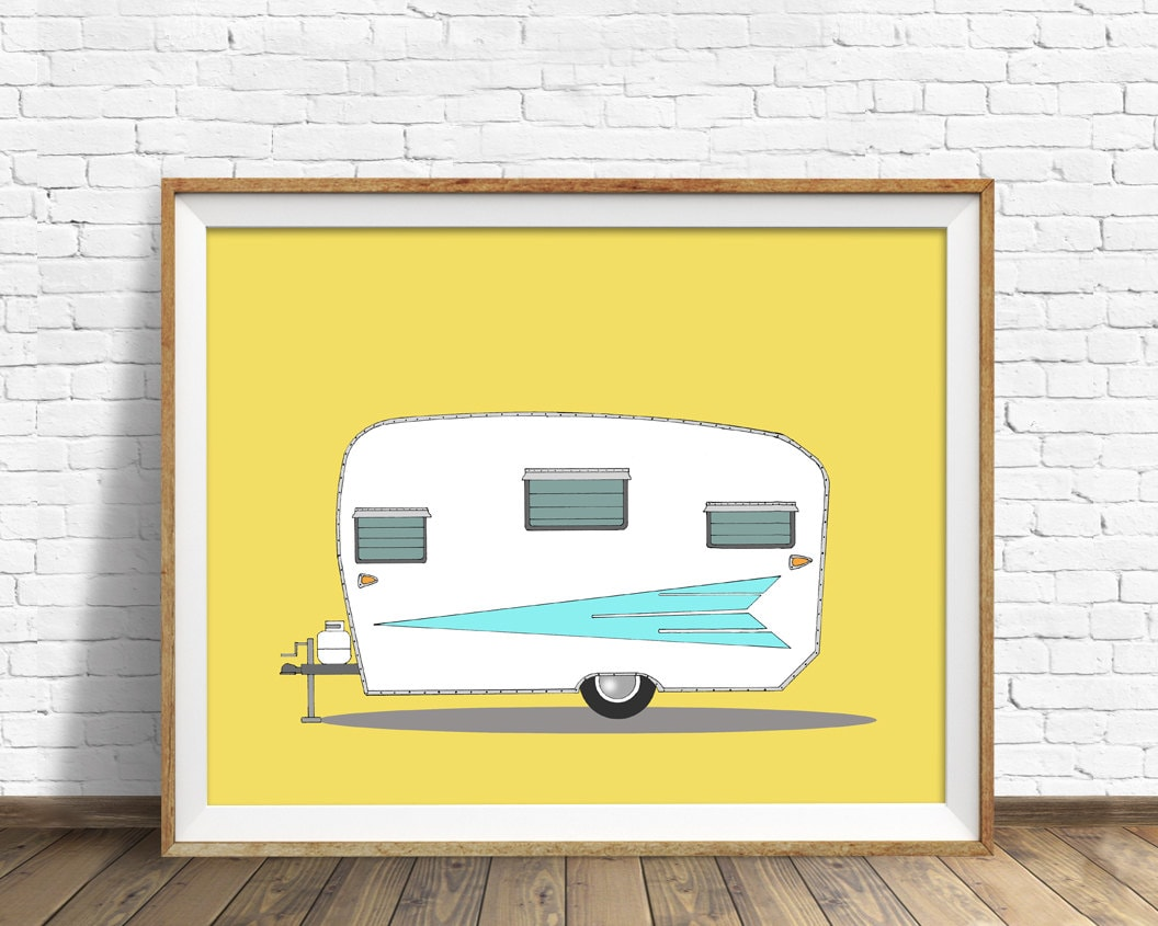 vintage camper, mid century modern, camper, large wall art, orange ...
