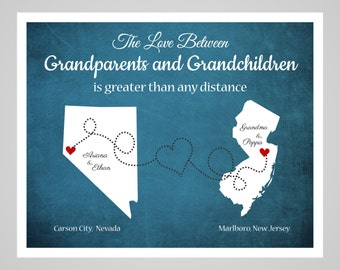 Grandparent Gift, Long Distance Grandma and Grandpa Gift, Personalized Gift for Grandparents, Long Distance Map, Custom Gift Mothers Day