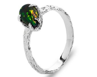 Black Opal Ring, Ethiopian Opal Ring, Opal Gemstone, Natural Opal, Silver Opal Ring, Sterling Silver Ring, Textured Silver Ring