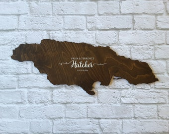 Wedding Guest Book Alternative. Country Guest Book. Wood Guest Book. Custom State Sign. Personalized State Sign. Wood State Cutout, Jamaica
