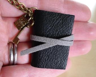 Book necklace, key charm, mini book, black leather, miniature book, book jewellery, lock and key
