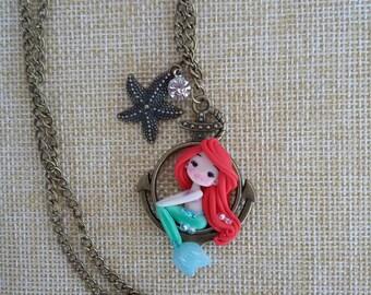 the little mermaid ariel necklace, disney fanart