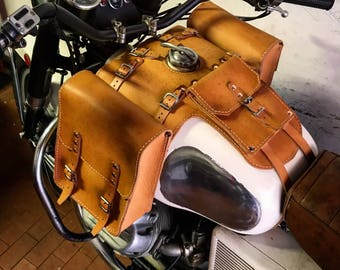 Moto Guzzi V 7 special leather tank bags with documents holder