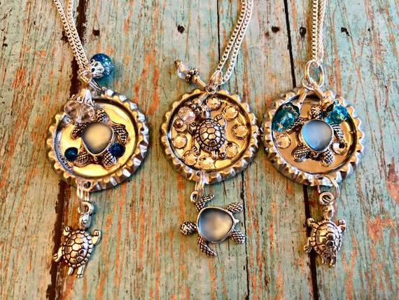 Bottle cap turtle necklace with charms