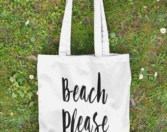 Beach Please Tote Bag - Canvas Tote Bag - Beach Bag - Funny Tote - Gift for Her - Summer Bag - Beach Tote - Market Tote - Shoulder Bag