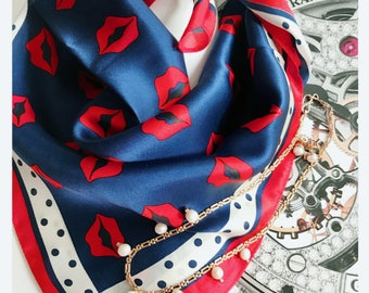 Silk Scarf , Square Neck Scarf , Women Silk Scarf , Gifts for Her , Blue Scarf - Bright Red Lips Print Scarf