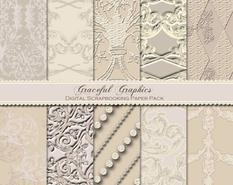 Scrapbook Paper Pack Digital Scrapbooking Background Papers SOPHISTICATED DAMASK Beige Tan Off White 10 8.5 x 11 1034gg