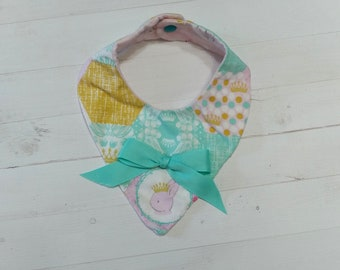 Spring time Bandanna baby bib with aqua, pink, green and purple for girls, Cotton and Mink baby bibs