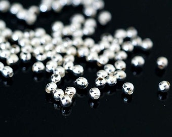 200pcs Silver Plated Beads 2mm