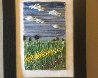 Embroidery Prairie landscape Hand embroidered canvas frame. Wildflowers, meadow, big sky with fluffy clouds one of a kind fibre art modern