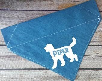 Personalized Labradoodle Dog Bandana / Custom Goldendoodle Pet Bandana / Doodle Dog Scarf / Name Dog Neckerchief / Over the Collar / Denim