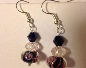 Lampwork glass drop earrings