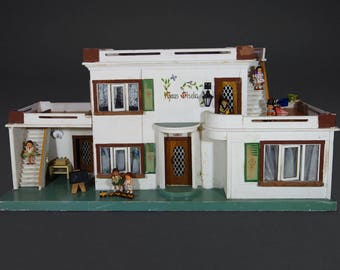 Large Vintage German Wired Wooden Dollhouse Mansion Haus Gisela Balcony Veranda Porch Electricity Original Albin Schönherr