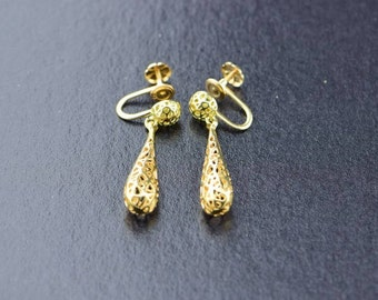 14K Yellow Gold Filigree Tear Drop Dangle Screw Back Earrings