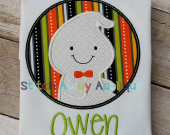 Ghost Boy Circle Halloween Machine Applique Design