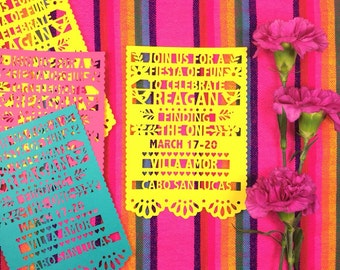 Fiesta Invitations, Fiesta Party Invites, Papel Picado, Mexican Wedding, Save the Date, Paper Cut Mexican Invitations, SET OF 6