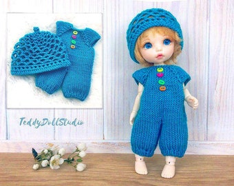 Summer set for Tiny BJD dolls Dress Lati Yellow Outfit PukiFee Clothes BJD dolls Lacy hat PukiFee Pomper Lati Yellow Overalls Irrealdoll