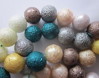 Multi Color Round Textured Glass Beads 14mm 12 Beads