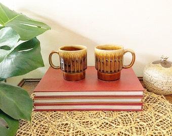Pair of Vintage Rust & Cream Japanese Stacking Mugs