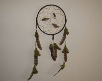 7 Inch Handcrafted Black Dreamcatcher with yellow seed beads