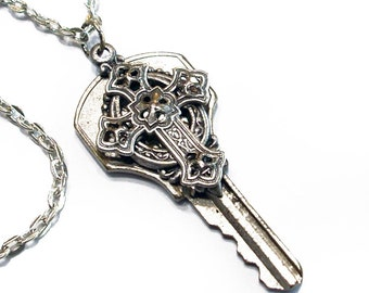 Key to Eternal Bliss - Celtic Cross Necklace Recycled Key Jewelry