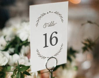 Table Number Template, Printable Wedding Table Number, Rustic Wedding Table | Edit in Word or Pages