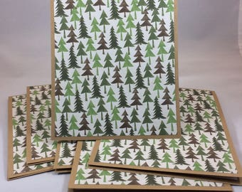 Set of 6 handmade blank notes cards trees forest natural kraft