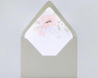 Digital Printable A7 Blush Grey Floral Envelope Liner Instant Download