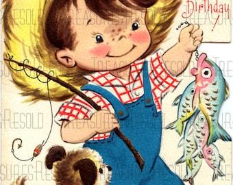 Retro Little Boy Fisherman Fishing Happy Birthday Card #637 Digital Download