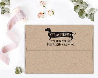 Return Address Stamp, Dachshund Stamp, Custom Stamp, Custom Address Stamp, Wedding Gift, Wiener Dog Gift, Holiday Gift, Save The Date Stamp