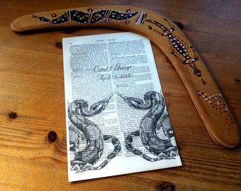 Boa Constrictor Love Wedding Engagement Anniversary Valentine Gift Personalized Art Print on Antique 1896 Dictionary Book Page