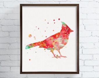 Cardinal Bird, Cardinal Painting, Cardinal Art, Cardinal Print, Watercolor Bird, Winter Birds, Snow Birds, Christmas Birds, Bird Wall Art