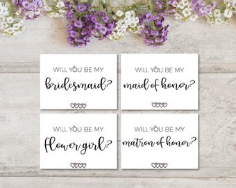 Bridesmaid Proposal Card Set | Set of 4 | 7x5 | Bridal Party Proposal | Digital PDF File | Instant Download | Can't Say I Do Without You
