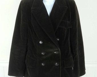 Vtg 70s Evan-Picone brown velvet blazer jacket size 8 chest 38