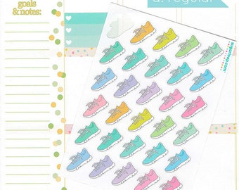 30 fitness, running shoes, planner stickers, sneakers, jog, run, running, gym fitness stickers, exercise, triathlon, training, sport, FIT2