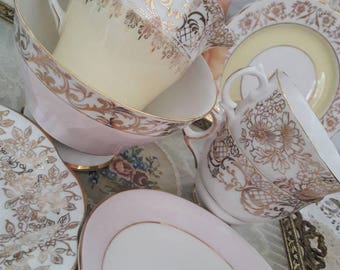 Perfect pretty vintage mismatch teaset lemon and pink china & gold gilt teaset for two