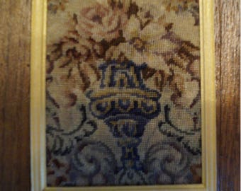 Dollhouse Miniature Framed Micro Petit Point--Antique Neoclassical Panel