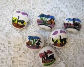 6 Peruvian Ceramic Mixed Color Llama Lentil Beads with Large Holes 15mm Small Size