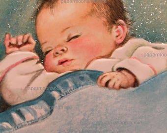 Vintage Baby Card Mid  Century  Grandparents Vvintage Glitter 1950s