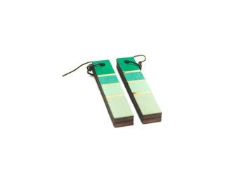 Green Earrings - Ombre Earrings - Stick Earrings - Lightweight Earrings - Popular Earrings - Simple Earrings - Urban Earrings - Modern
