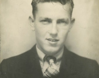 vintage photo 1932 Young Man Plaid Tie Photo Booth Confident Look